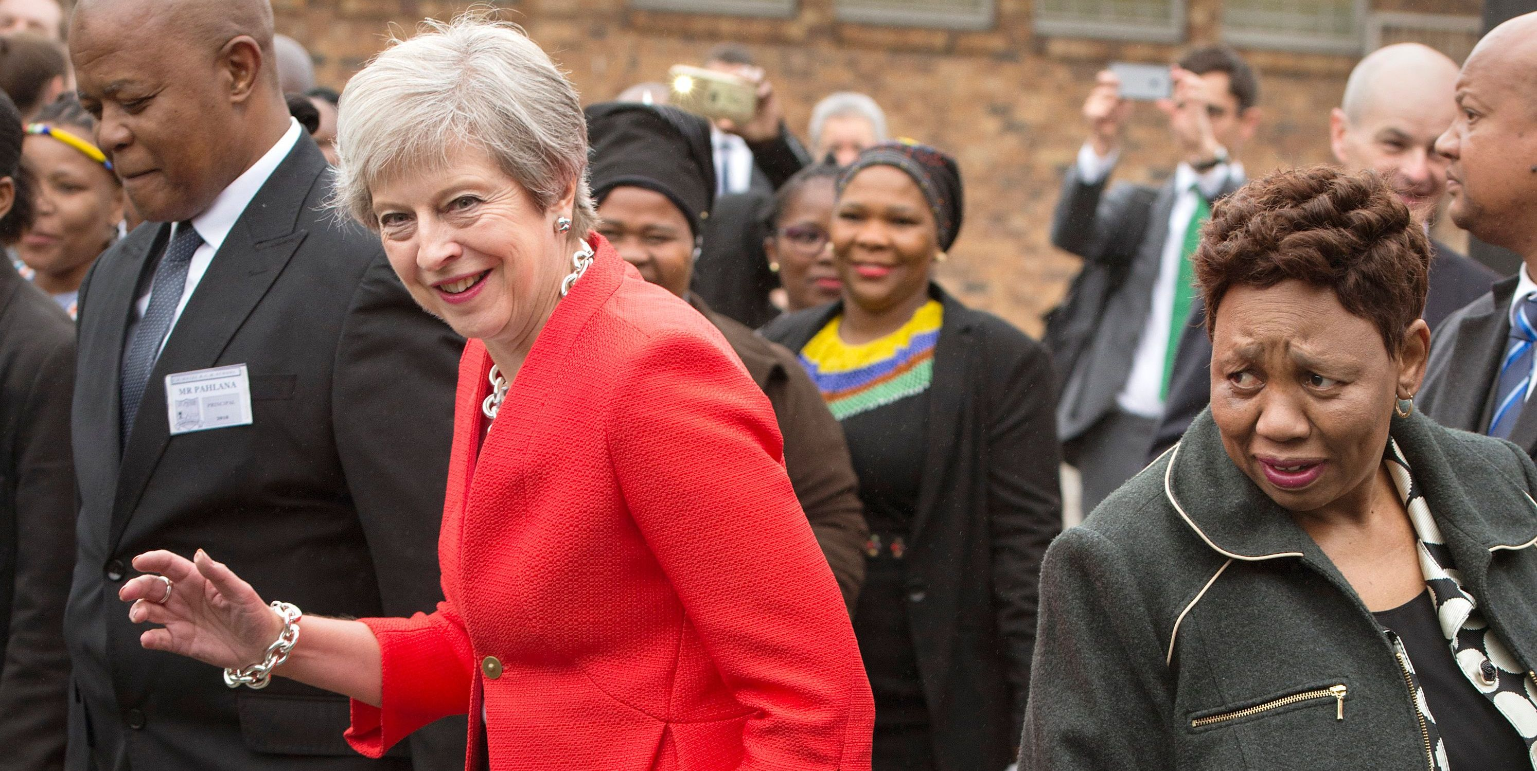 Theresa May South Africa dance