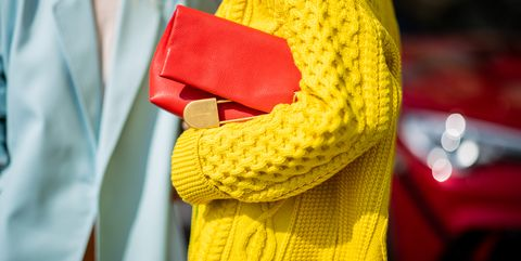 Yellow, Red, Textile, Scarf, Outerwear, Street fashion, Knitting, Fashion accessory,