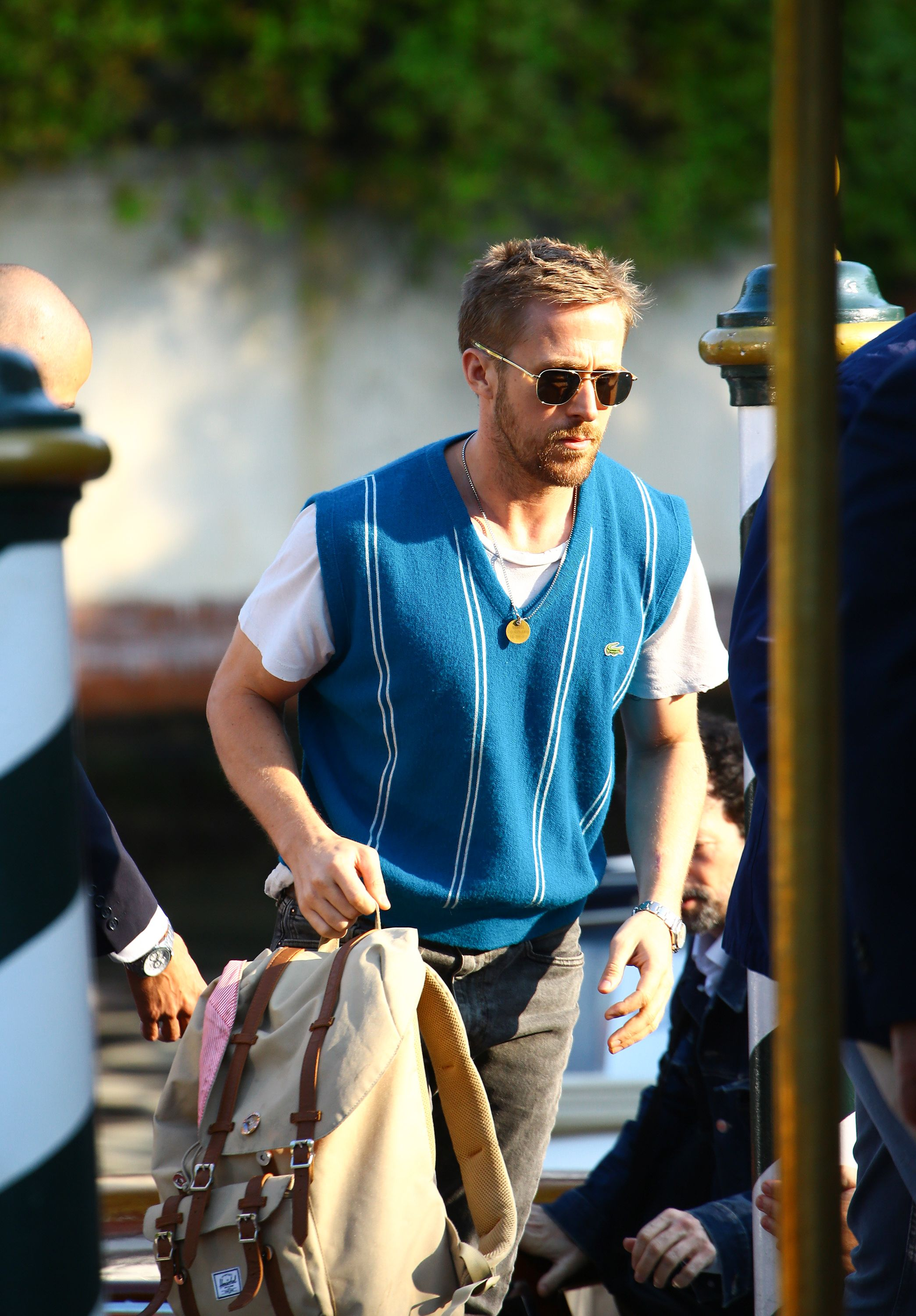 fbcc1c06af Ryan Gosling s Sleaze-Adjacent Sweater Vest Look Is Difficult to Replicate