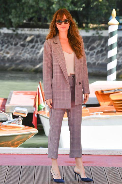 Clothing, Street fashion, Pink, Fashion, Outerwear, Blazer, Orange, Footwear, Suit, Pantsuit,