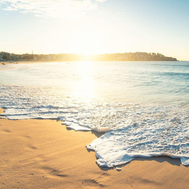 beautiful sunrise seascape in bondi beach at sydney, australia