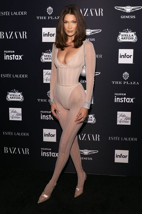 cd901fb122d Bella Hadid wears daring nude bodysuit to Bazaar Icons party