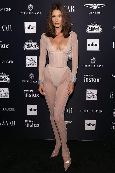 Harper's BAZAAR ICONS - Bella Hadid nude bodysuit