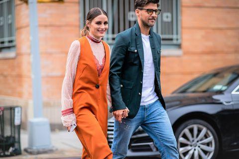 Suit, Street fashion, Orange, Clothing, Fashion, Formal wear, Outerwear, Vehicle, Car, Tuxedo,