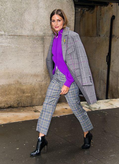 Clothing, Street fashion, Fashion, Purple, Fashion model, Pink, Outerwear, Magenta, Footwear, Trousers,