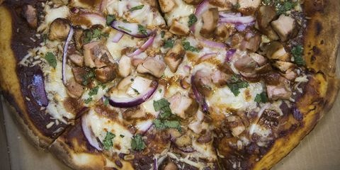 """anaheim, ca   october 04 a wood fired bbq chicken pizza is one of the offerings at """"the kitchen,"""" a new eatery at the honda center's remodeled south entrance in anaheim, ca on wednesday, october 4, 2017 photo by kevin sullivandigital first mediaorange county register via getty images"""