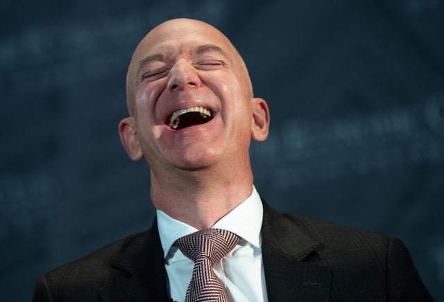 jeff bezos, founder and ceo of amazon, laughs as he speaks during the economic club of washingtons milestone celebration event in washington, dc, on september 13, 2018 photo by saul loeb  afp        photo credit should read saul loebafp via getty images
