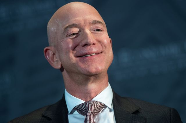 jeff bezos, founder and ceo of amazon, smiles as he speaks during the economic club of washingtons milestone celebration event in washington, dc, on september 13, 2018 photo by saul loeb  afp        photo credit should read saul loebafp via getty images