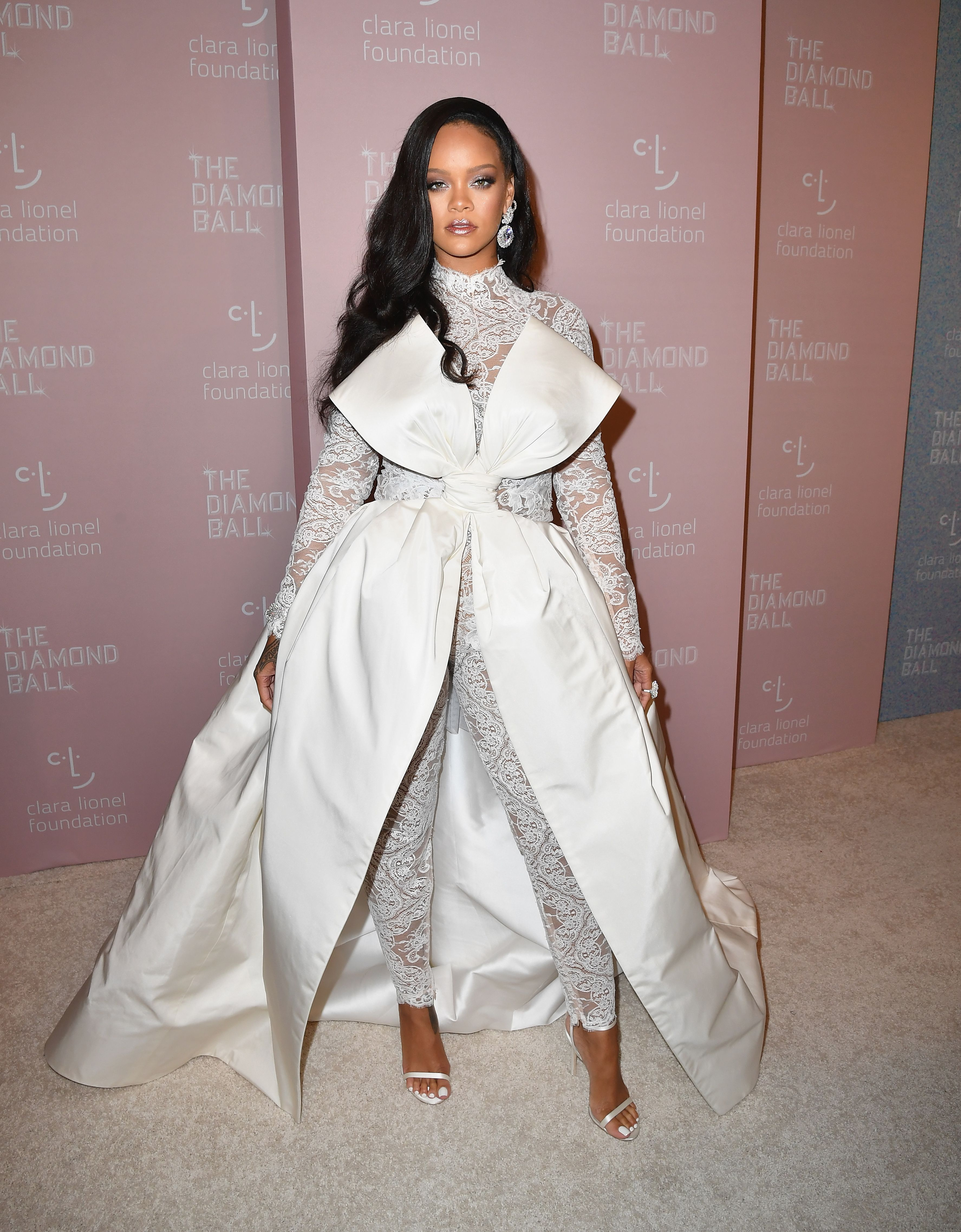 d35cc8ef817 Rihanna Wore a Dramatic Lace Jumpsuit by Alexis Mabille To Her 4th Annual  Diamond Ball