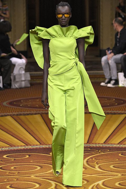 Fashion, Green, Yellow, Fashion design, Haute couture, Event, Runway, Costume, Fashion show, Fictional character,