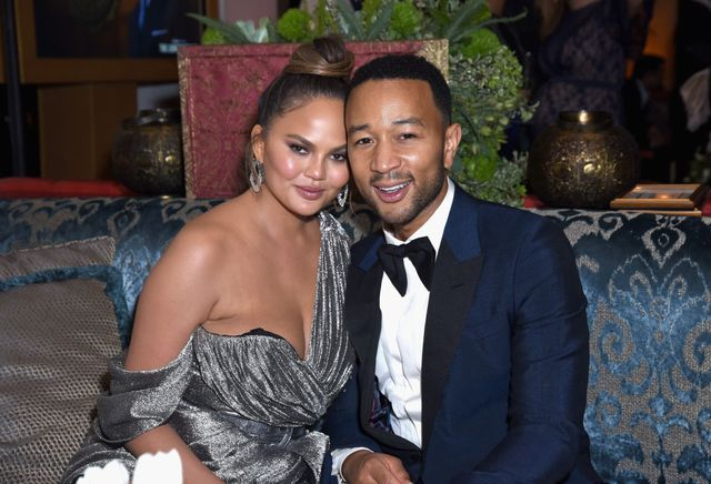 los angeles, ca   september 17  l r chrissy teigen and john legend attend hulus 2018 emmy party at nomad hotel los angeles on september 17, 2018 in los angeles, california  photo by presley anngetty images for hulu