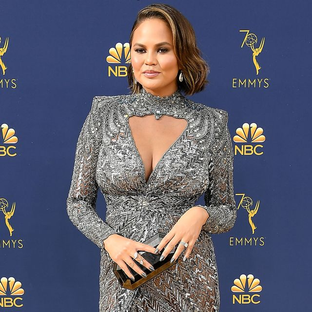 los angeles, ca   september 17  chrissy teigen arrives at the 70th emmy awards on september 17, 2018 in los angeles, california  photo by steve granitzwireimage,
