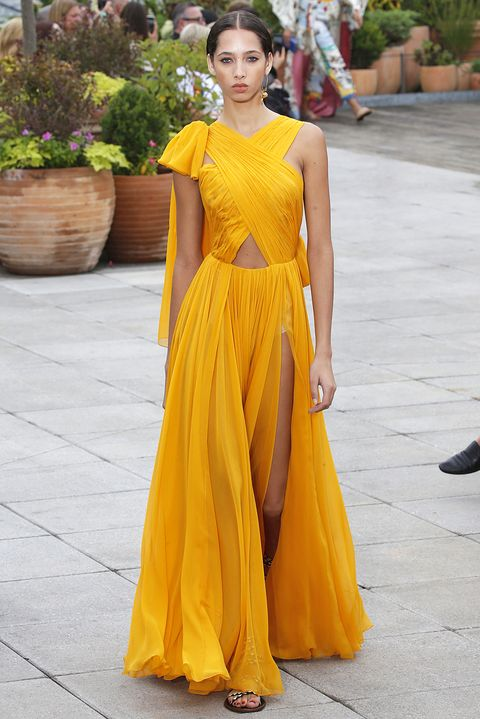 Clothing, Dress, Yellow, Fashion model, Gown, Formal wear, Fashion, A-line, Day dress, Neck,