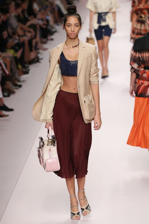 Fashion model, Fashion show, Fashion, Runway, Clothing, Shoulder, Brown, Waist, Beige, Fashion design,