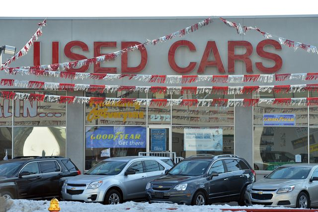 a used car dealer with the logo used cars pictured in the city centre of detroit, united states of america, 12 january 2014 photo uli deckdpa  usage worldwide   photo by uli deckpicture alliance via getty images