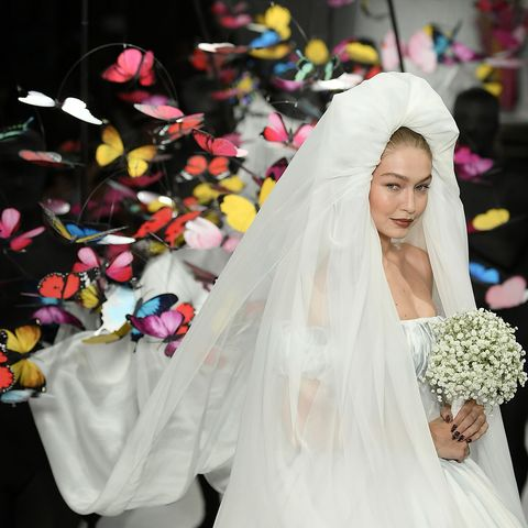 Gigi Hadid Was A Bride In Giant Bubble Dress At The Moschino Runway Show
