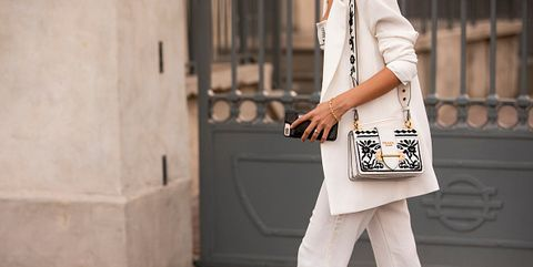 White, Clothing, Street fashion, Shoulder, Fashion, Waist, Footwear, Leg, Joint, Satchel,
