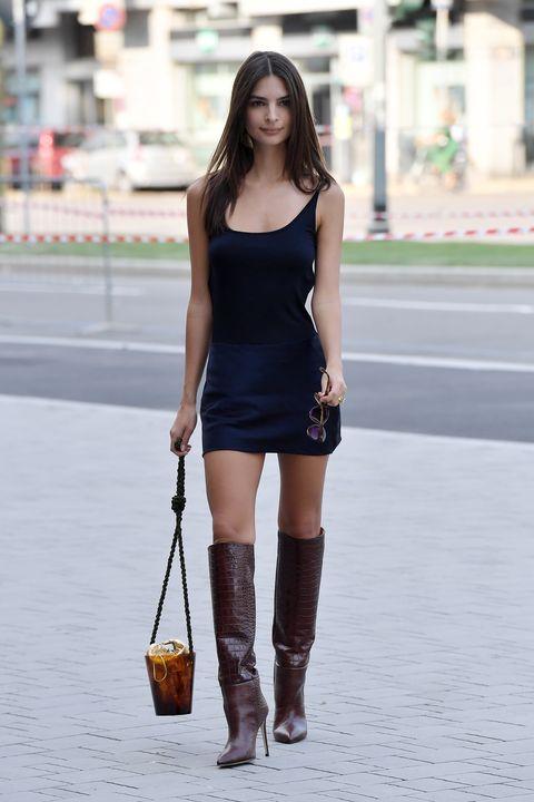 Clothing, Black, Shoulder, Street fashion, Fashion, Beauty, Leg, Dress, Human leg, Footwear,