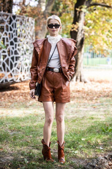 Clothing, Street fashion, Brown, Fashion, Leather, Eyewear, Outerwear, Blazer, Jacket, Shorts,