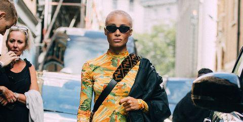 Street fashion, Yellow, Fashion, Snapshot, Sunglasses, Eyewear, Dress, Fashion design, Event, Glasses,