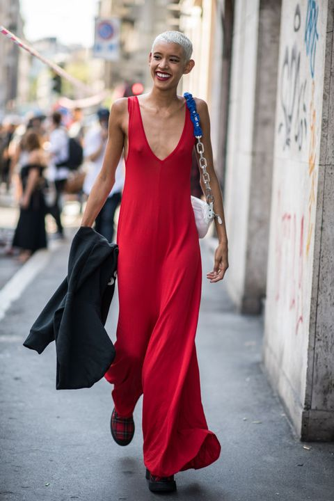 Clothing, Dress, Red, Fashion model, Street fashion, Fashion, Beauty, Formal wear, Gown, Haute couture,