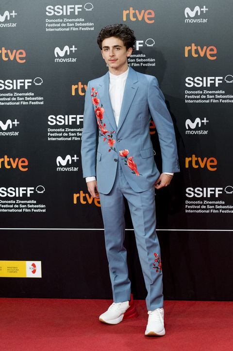 timothée chalamet in flowers and birds embroidered suit