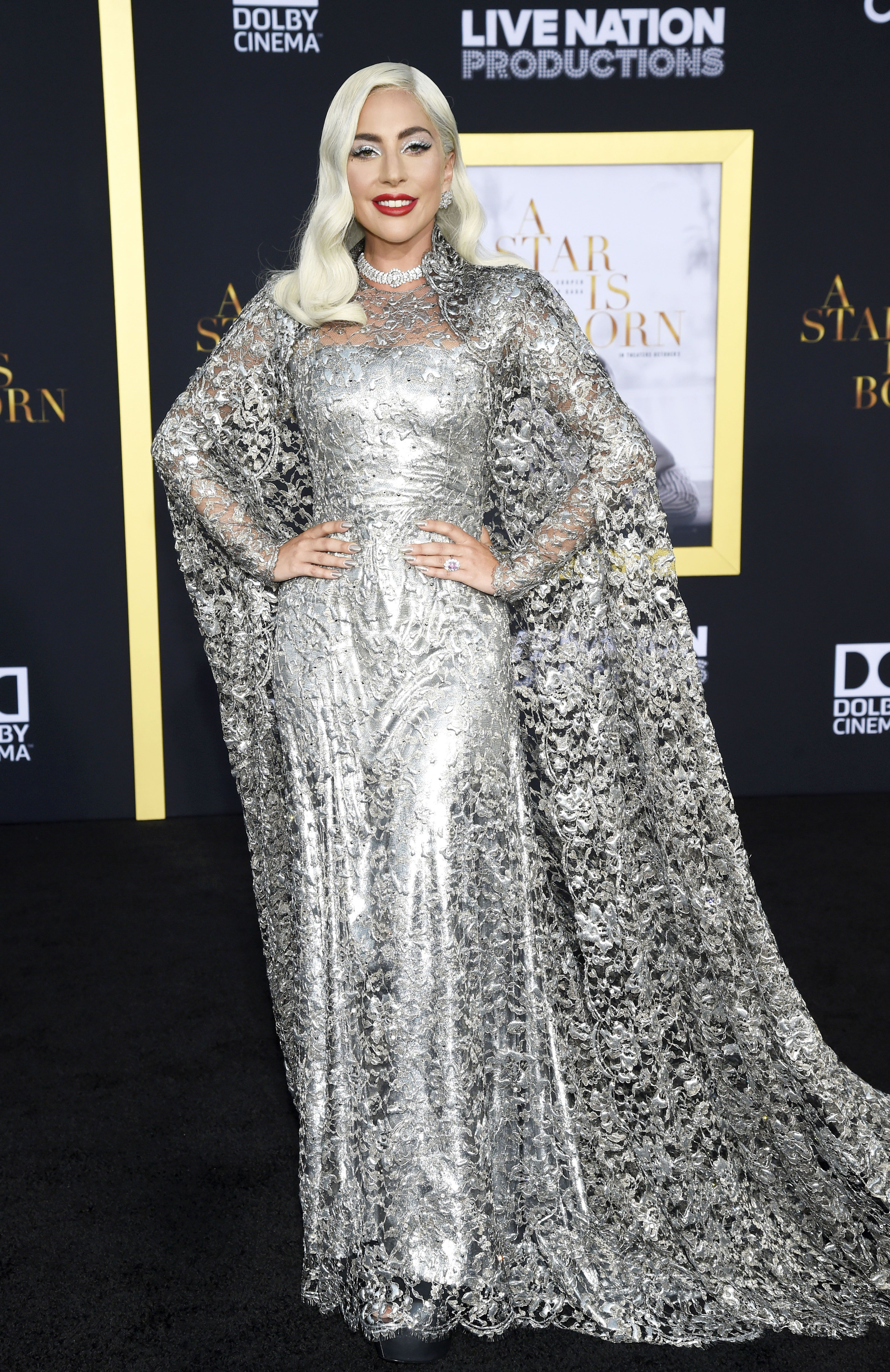 Lady Gaga Wore Silver Lace Givenchy Gown to Her \'A Star is Born\' Los ...