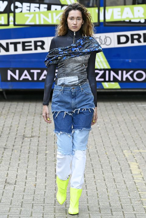 Clothing, Jeans, Denim, Street fashion, Fashion, Electric blue, Textile, Fashion design, Footwear, Fashion show,