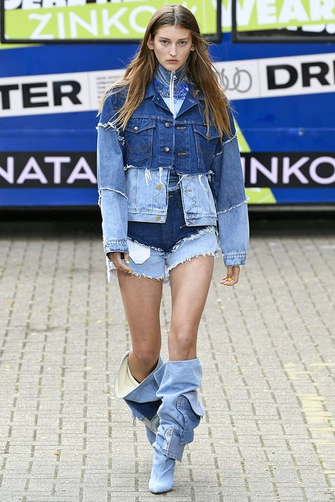 Denim, Clothing, Street fashion, Jeans, Fashion, Textile, Footwear, Thigh, Outerwear, Leg,