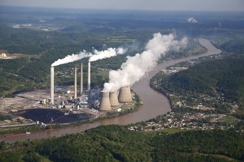 Aerial view of coal-fired power plant
