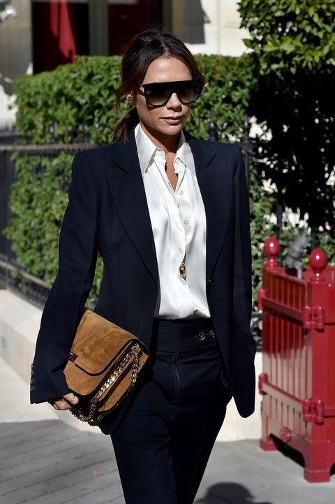 Clothing, Suit, White, Black, Blazer, Street fashion, Formal wear, Outerwear, Fashion, Eyewear,