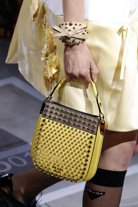 Bag, Handbag, White, Yellow, Shoulder, Fashion, Fashion accessory, Joint, Street fashion, Beige,