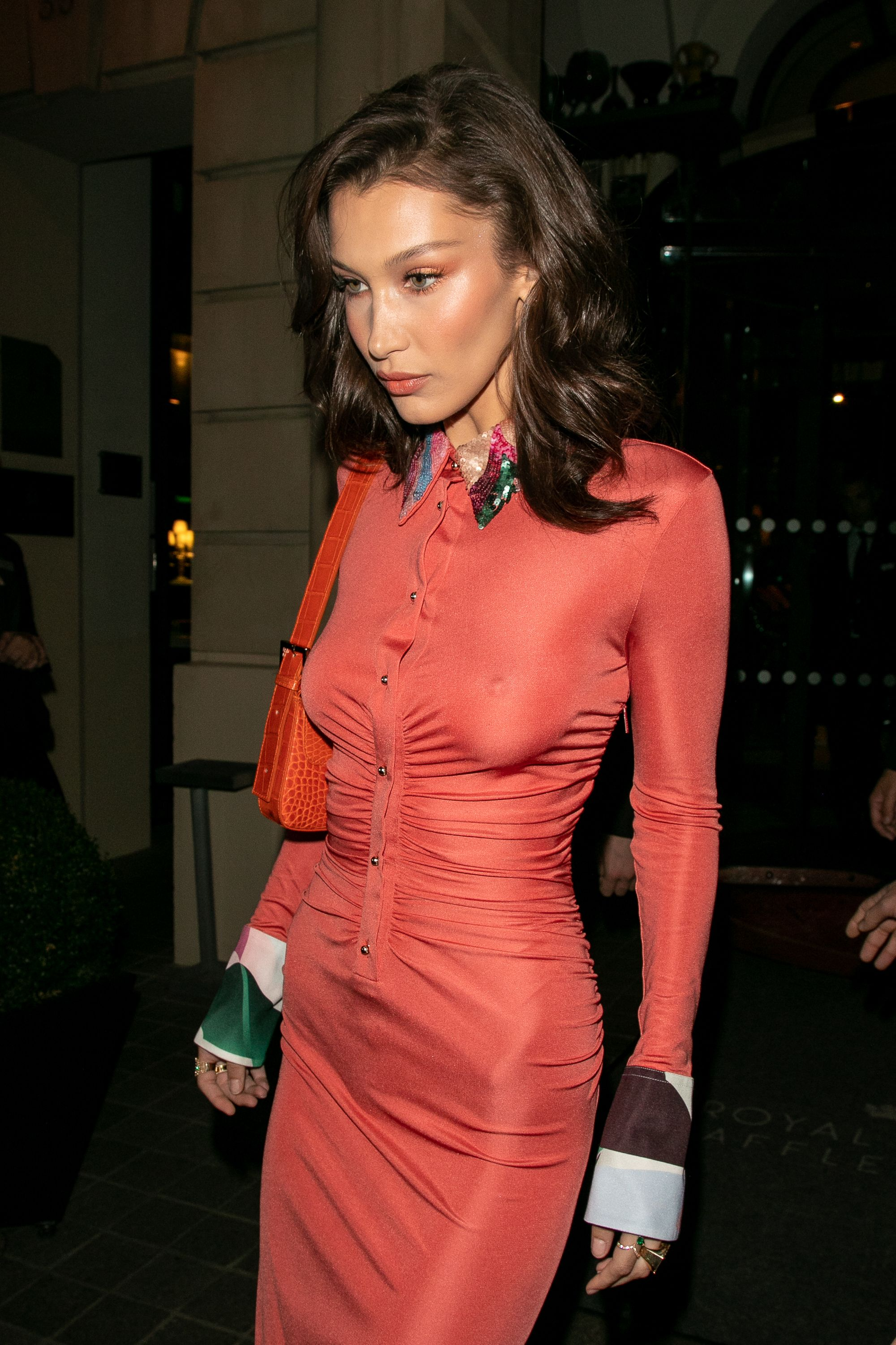 Bella Hadid orange ruched dress