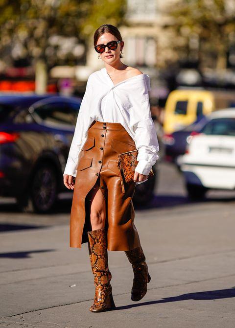 Come indossare la stampa pitone, pitone tendenza moda 2019, look pitone, trench stampa pitone, borsa stampa pitone, stivali stampa pitone
