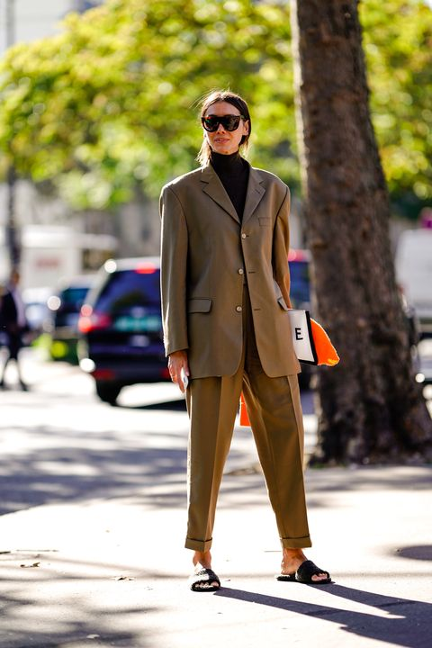 Clothing, Street fashion, Suit, Fashion, Snapshot, Sunglasses, Outerwear, Brown, Coat, Eyewear,