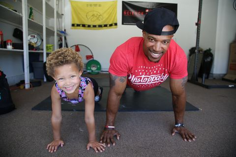 exclusive   video available   moorpark, california, 2 july 2018 prisais brooklyn townsend and her dad james do some push ups at their home gym in moorpark, california, 2 july 2018  a badass kid is breaking into the gym world at just five years old   and she can already do 60 push ups at a time and deadlift 65lb prisais brooklyn townsend did her first gym workout at just 10 months old when she started copying her dads moves in the gym the tiny spitfire has been hooked ever since and practices with her trainer and father james at every opportunity   photograph by joel forrest  barcroft images photo credit should read joel forrest  barcroft media via getty images  barcroft media via getty images