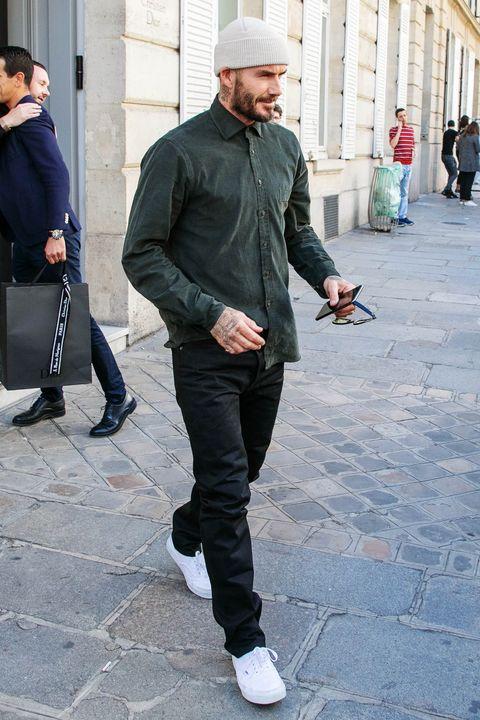 Street fashion, Jeans, Clothing, Fashion, Snapshot, Beanie, Jacket, Denim, Standing, Footwear,