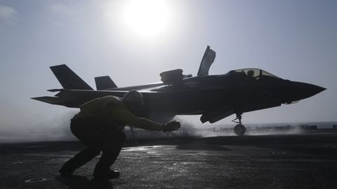 Airplane, Aircraft, Military aircraft, Vehicle, Air force, Fighter aircraft, Aviation, Lockheed martin f-35 lightning ii, Mcdonnell douglas f/a-18 hornet, Grumman f-14 tomcat,
