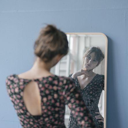 Hair, Hairstyle, Fashion, Fashion design, Dress, Design, Photography, Reflection, Room, Bun,