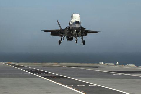 Airplane, Aircraft, Vehicle, Aviation, Air force, Lockheed martin f-35 lightning ii, Fighter aircraft, Military aircraft, Flight, Landing,