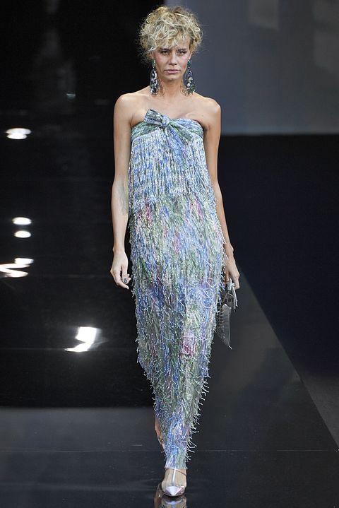 Fashion model, Fashion, Fashion show, Runway, Clothing, Dress, Shoulder, Haute couture, Fashion design, Event,