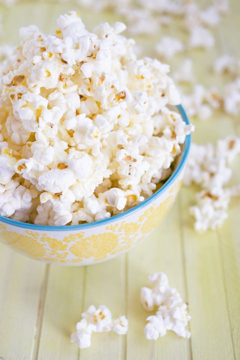 Close-up of a bowl of popcorn on a table