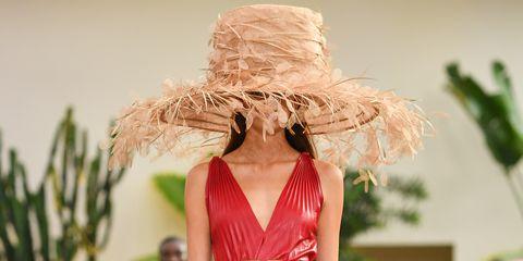 Fashion show, Fashion model, Runway, Fashion, Clothing, Dress, Red, Fashion design, Haute couture, Event,