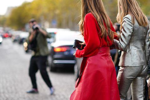Red, Street fashion, People, Fashion, Hairstyle, Walking, Jeans, Long hair, Pedestrian, Street,