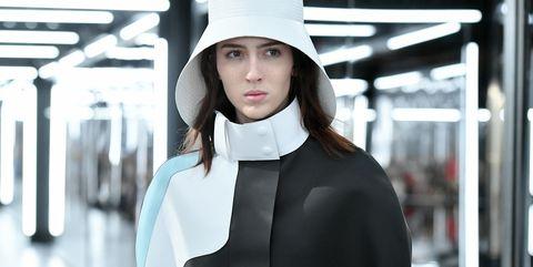 White, Black, Clothing, Street fashion, Fashion, Beauty, Hat, Black-and-white, Headgear, Fashion design,