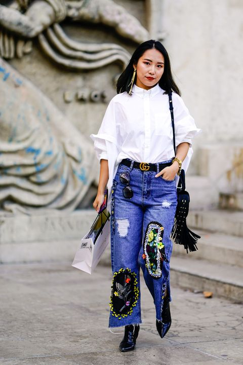 Street fashion, Clothing, White, Blue, Fashion, Jeans, Denim, Electric blue, Footwear, Trousers,