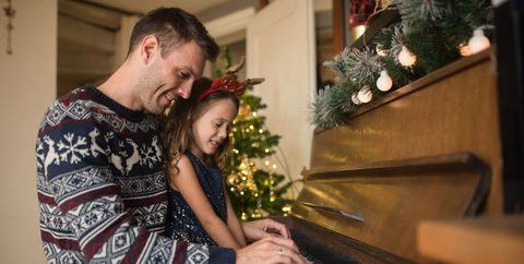 christian christmas songs father and daughter playing piano