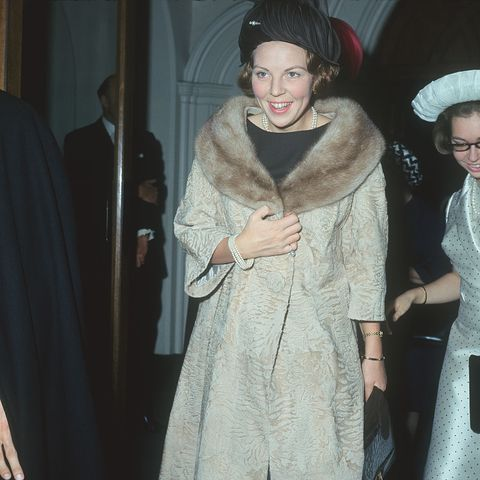princess beatrix of the netherlands arrives for the christening of sybilla louise ambler, the daughter of princess margaretha of sweden and john ambler, at st pauls church in london, england in may 1965 photo by keystonegetty images
