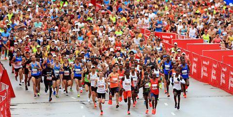 Sports, Running, Marathon, Athletics, Long-distance running, Crowd, Recreation, Individual sports, Athlete, Outdoor recreation,