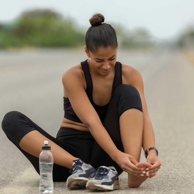 Mujer, lesionado,running